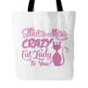 Pink & White Crazy Cat Lady Tote Bag - Just Love Cats