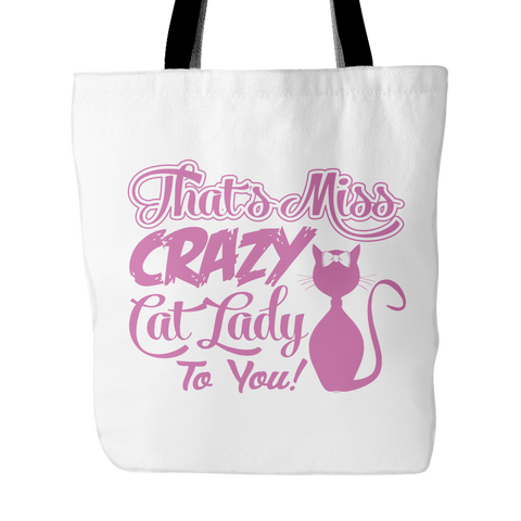 Pink & White Crazy Cat Lady Tote Bag