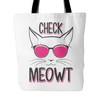 Black & Pink Check Meowt Cat Tote Bag - Just Love Cats
