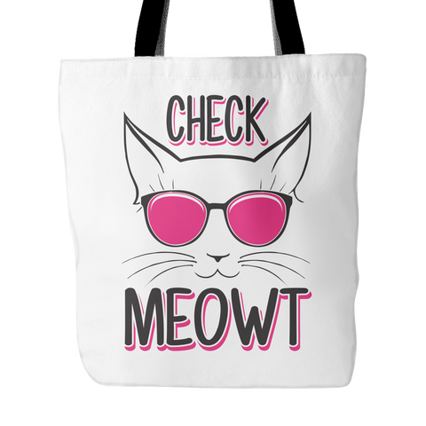 Black & Pink Check Meowt Cat Tote Bag