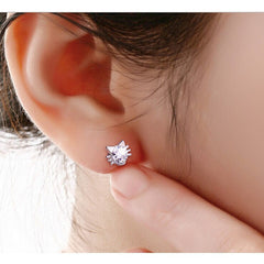 Austria Crystal Cat Stud Earrings - Just Love Cats