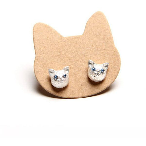 Cute Cat Head Earrings Comes In Gold, Silver And Black Metal Colors