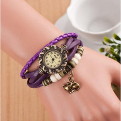 Retro Cat Leather Vintage Bracelet Bangle Wrist Watch - Just Love Cats