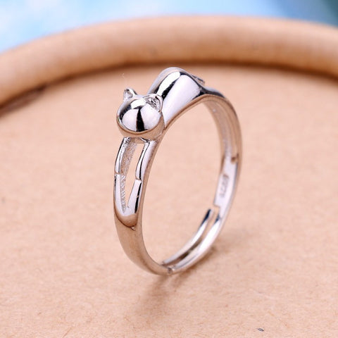 Silver Kitty Cat Ring