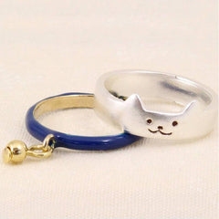 2 Piece Gold Or Silver Metal Boho Dangle Cat Finger Rings - Just Love Cats