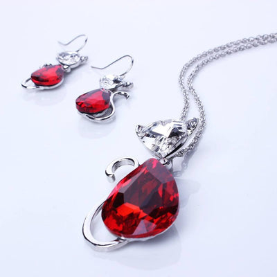Crystal Rhinestone Cat Pendant Necklace & Earring Set - Just Love Cats