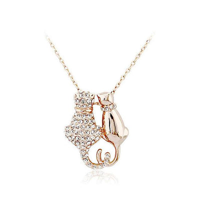 Crystal Cat Lovers Couple Pendant Necklace - Just Love Cats