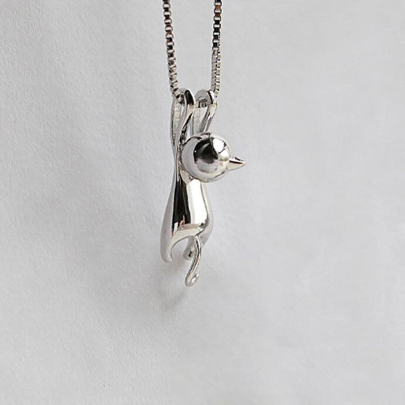 Silver Kitty Cat Charm Pendant Necklace - Just Love Cats