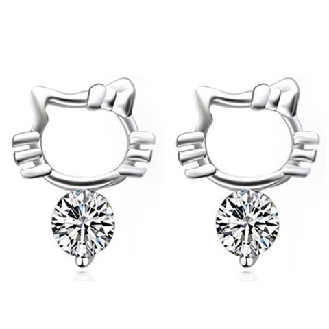 Crystal Kitty Cat Stud Earrings