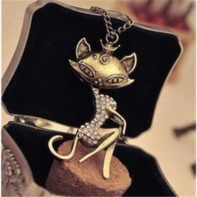 Vintage, Retro Sexy Cat Girl Crystal Rhinestone Pendant Necklace - Just Love Cats