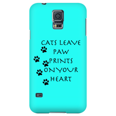 Cats Leave Paw Prints On Your Heart-Teal Phone Case