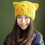 Women's Cat Hat Crochet Braided Wool Knit Cat Ear Hat & Beanie