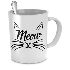 White Meow Cat Coffee Mug - Just Love Cats