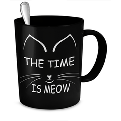 The Time Is Meow Black Cat Coffee Mug - Just Love Cats
