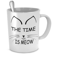 White The Time Is Meow Coffee Mug - Just Love Cats