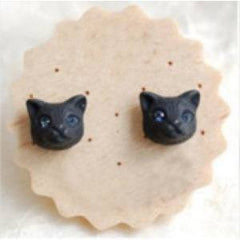 Cute Cat Head Earrings Comes In Gold, Silver And Black Metal Colors - Just Love Cats