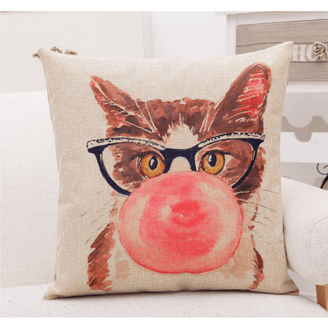 Hip Cat Throw Pillows