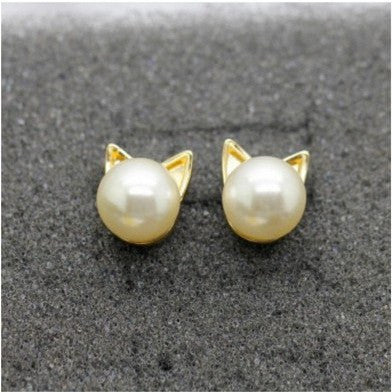 Gold & Pearl Stud Cat Earrings - Just Love Cats