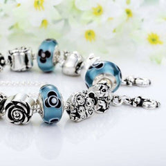 Ocean Blue Infinity Cat Charm Beaded Bangle And Bracelet - Just Love Cats