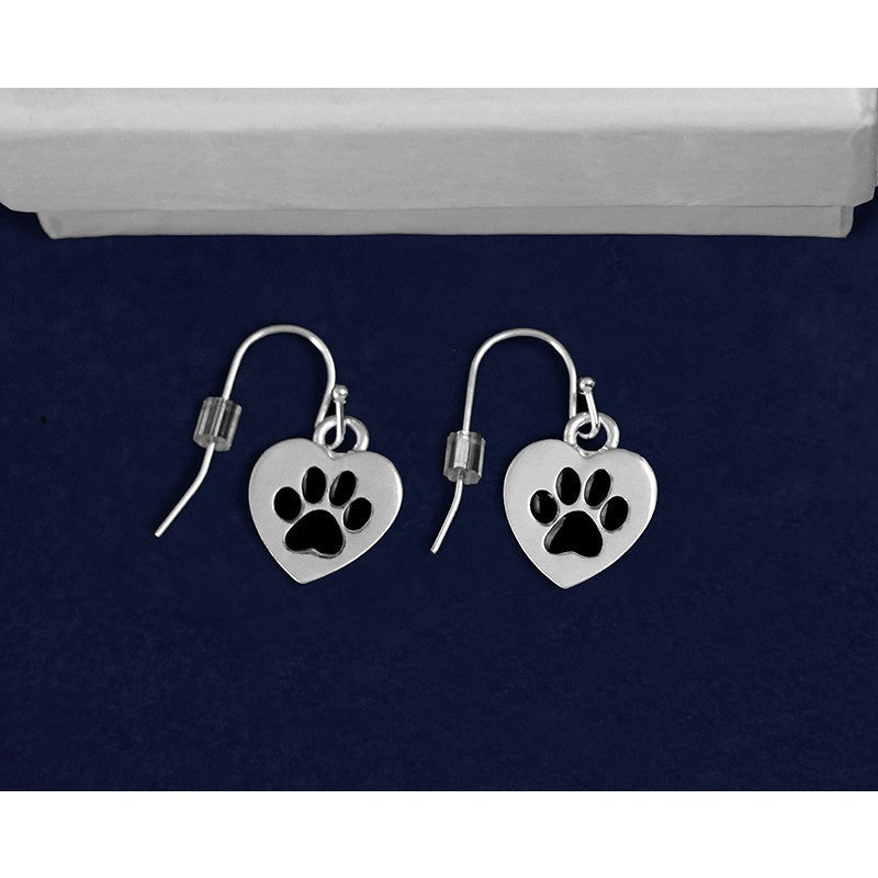 Silver Heart Cat Paw Print Dangle Earrings - Just Love Cats