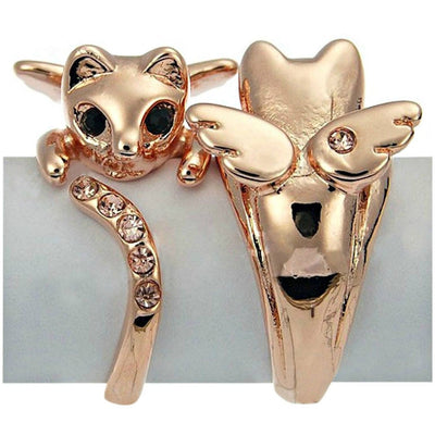 Adjustable Crystal Angel Cat Ring - Just Love Cats