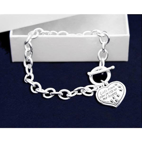 Cats Leave Paw Prints On Our Hearts Dangle Charm Bracelet - Just Love Cats