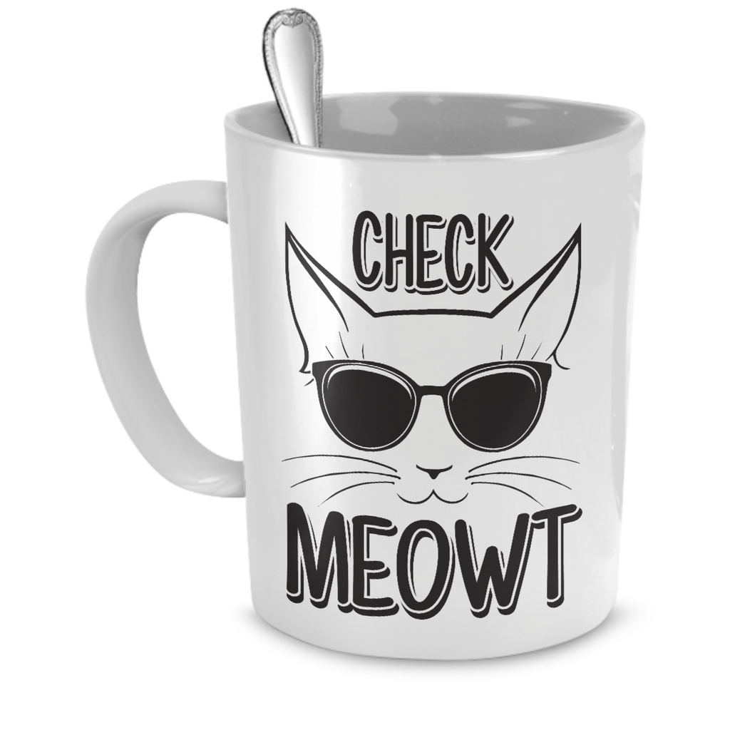 White Check Meowt Coffee Mug - Just Love Cats