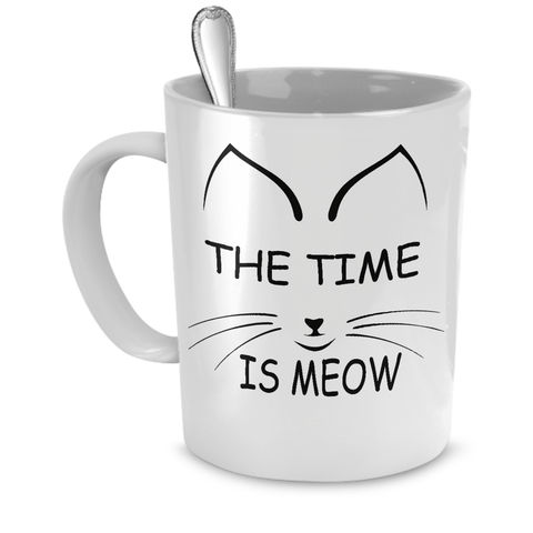 White The Time Is Meow Coffee Mug