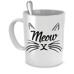 White Meow Coffee Mug - Just Love Cats