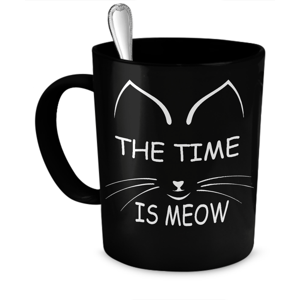 Black The Time Is Meow Coffee Mug - Just Love Cats