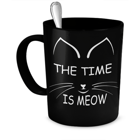Black The Time Is Meow Coffee Mug