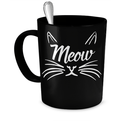 Black Meow Cat Coffee Mug
