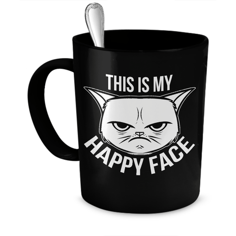 Black This Is My Happy Face Cat Coffee Mug