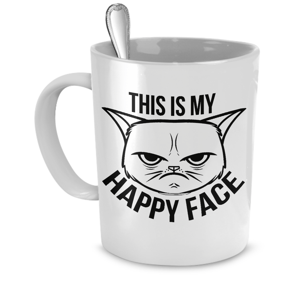 White This Is My Happy Face Cat Mug For Coffee & Tea - Just Love Cats
