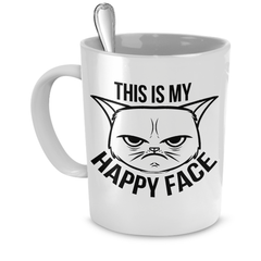 White This Is My Happy Face Coffee Mug - Just Love Cats