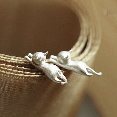 Silver Kitty Cat Earrings - Just Love Cats