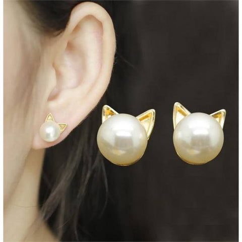 Cat Ear Silver & Gold Pearl Stud Earrings