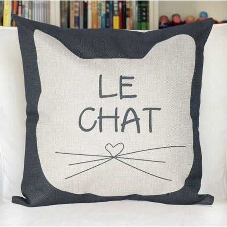 Black and Cream Cat Throw Pillows