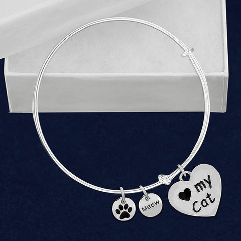 I Love My Cat Bangle Charm Bracelet