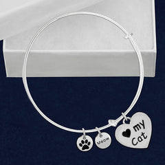I Love My Cat Bangle Charm Bracelet - Just Love Cats