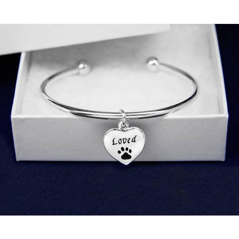 My Cat Equals Loved Heart Charm Bangle Bracelet