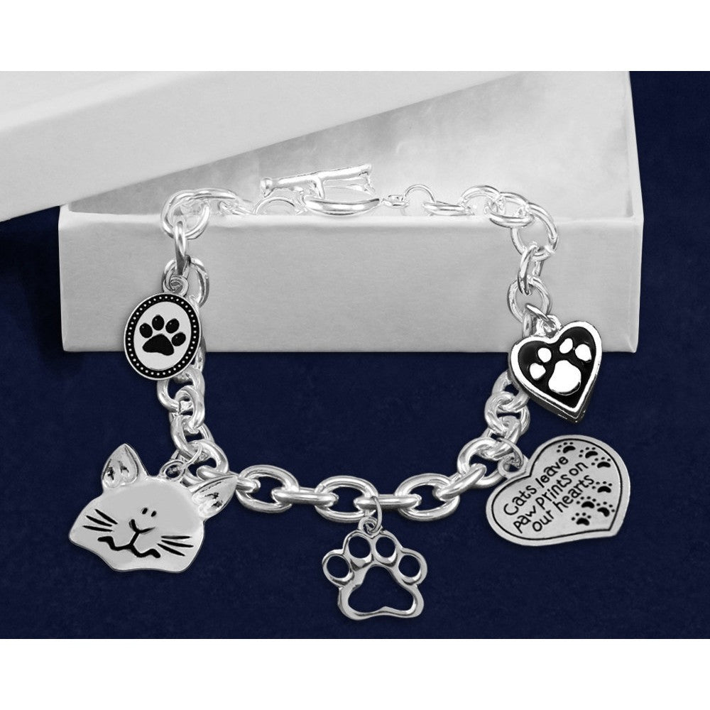 Five Times The Charm Cat Charm Bracelet - Just Love Cats