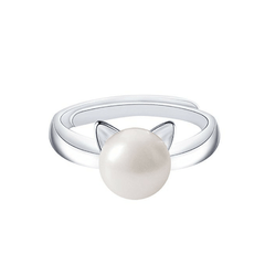 Silver & Pearl Cat Ring