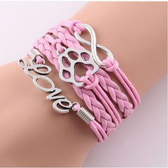 Leather Wrap Infinity Love Best Friend Cat Paw Print Charm Bracelet - Just Love Cats