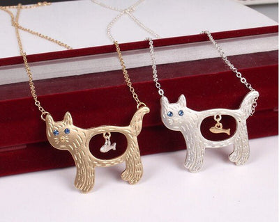 Cat Eats Fish Pendant Necklace - Just Love Cats