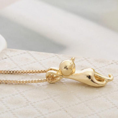 Cute Kitty Cat Charm Pendant Necklace - Just Love Cats