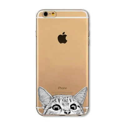 Peak-A-Boo Cat Soft Silicon Transparent Phone Cases For iPhones