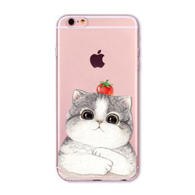 Strawberry Cat Soft Silicon Transparent Phone Cases For iPhones