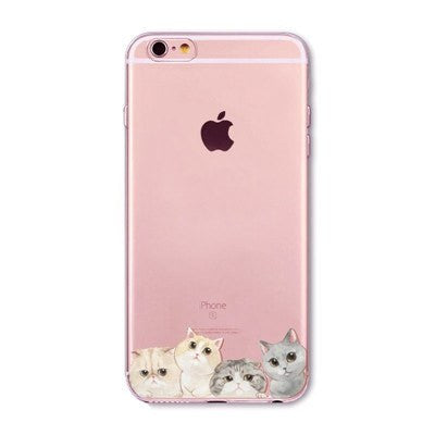 Four Little Cats Soft Silicon Transparent Phone Cases For iPhones