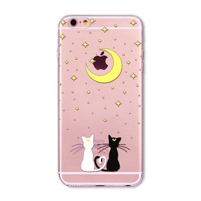 Moonlight Cats Soft Silicon Transparent Phone Cases For iPhones